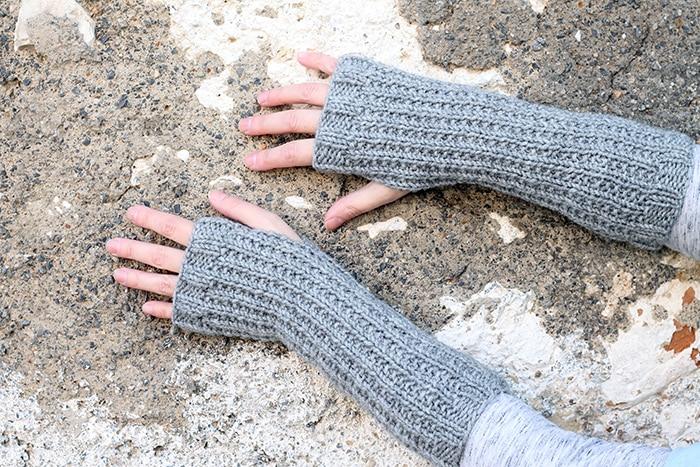 broken rib stitch fingerless mittens