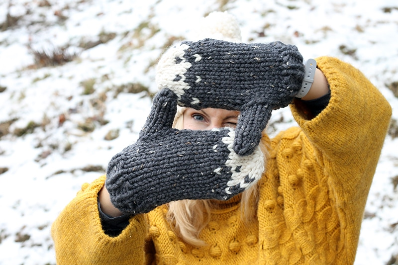 knitted snow mountain mittens