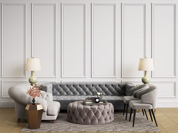 velvet ottoman in modern living room interior