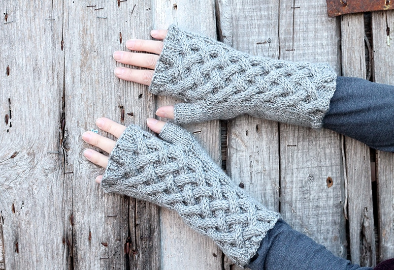 Outlander celtic cable knit fingerless gloves