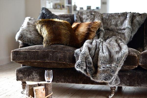 cozy living room fabrics including fur and velvet
