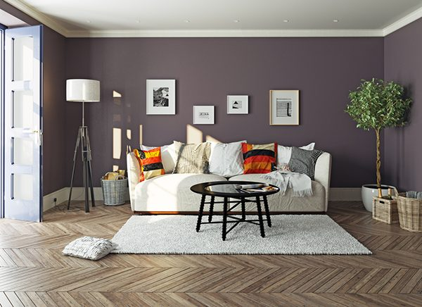chevron wooden floors in the living room