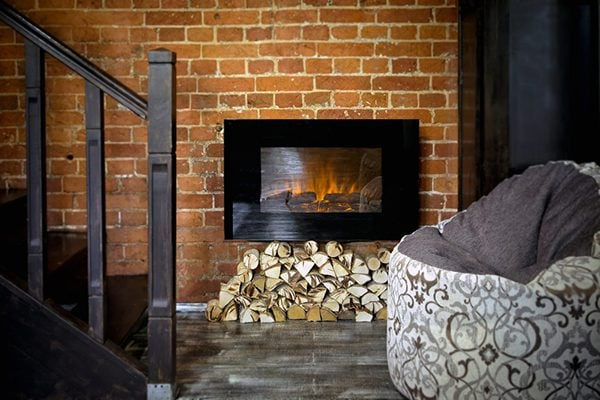 electric fireplace built into a wall