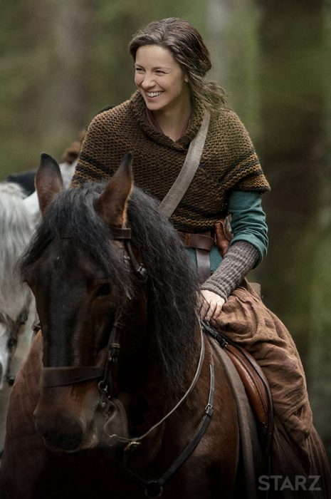 Claire Fraser from Outlander riding a horse