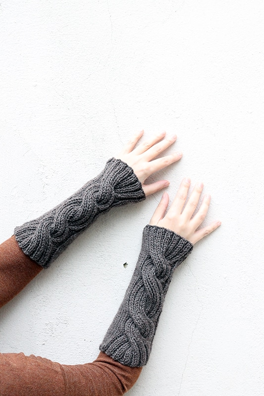 Cable knitted wrist warmers