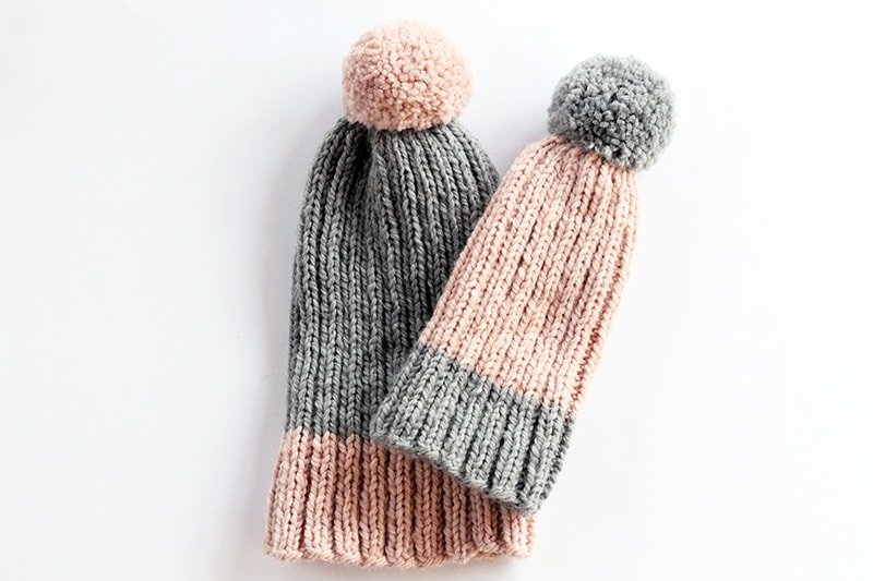ribbed knit hats for mom and baby