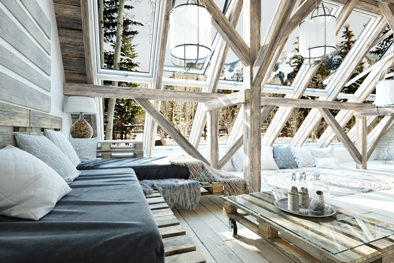 Log cabin living room with a glass roof