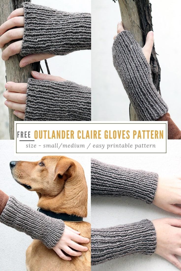 Outlander Claire fingerless gloves knitting pattern free