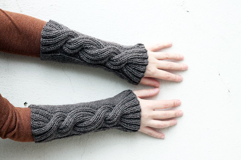 Claire's cable knit wrist warmers