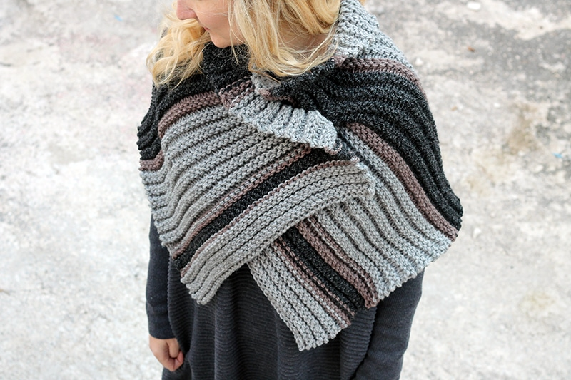 striped knitted cape