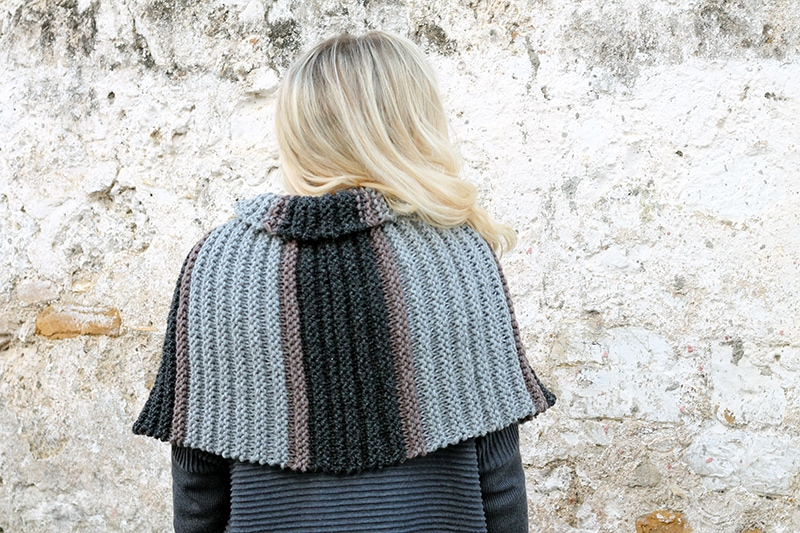 back view of knitted capelet