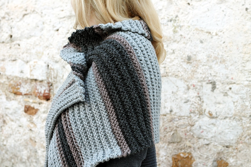 side view of knitted cape