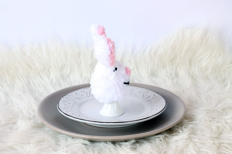 Knitted bunny egg cosy
