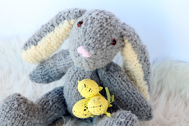 knitted Easter bunny with floppy ears