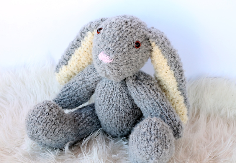 knitted bunny toy with floppy ears