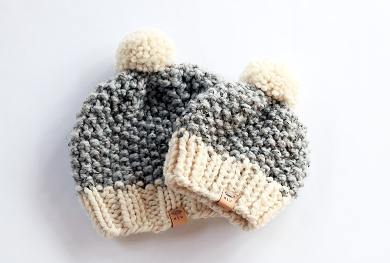 mom and baby knitted seed stitch hats in grey and white