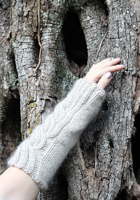 side view of the cable knit wrist warmers