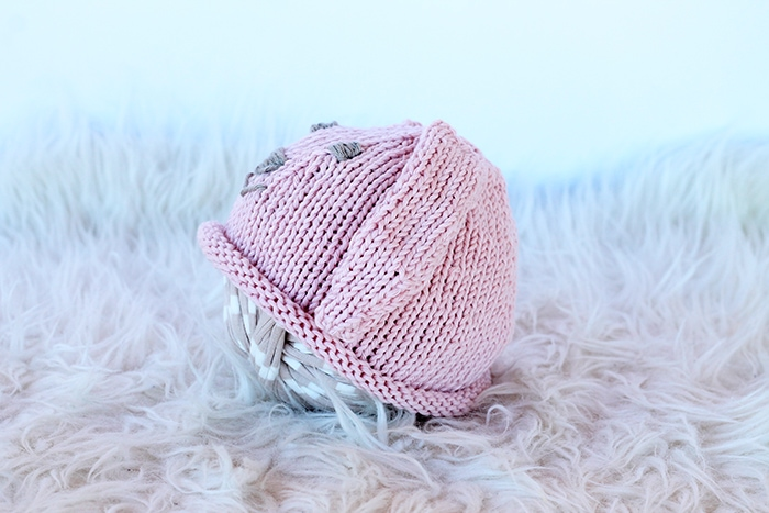 knitted baby hat with bunny ears