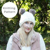 Double Pom Hat Knitting Pattern PDF
