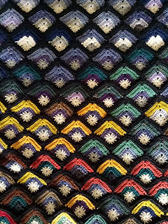 Mitred square temperature blanket pattern by Kaye Adolphson
