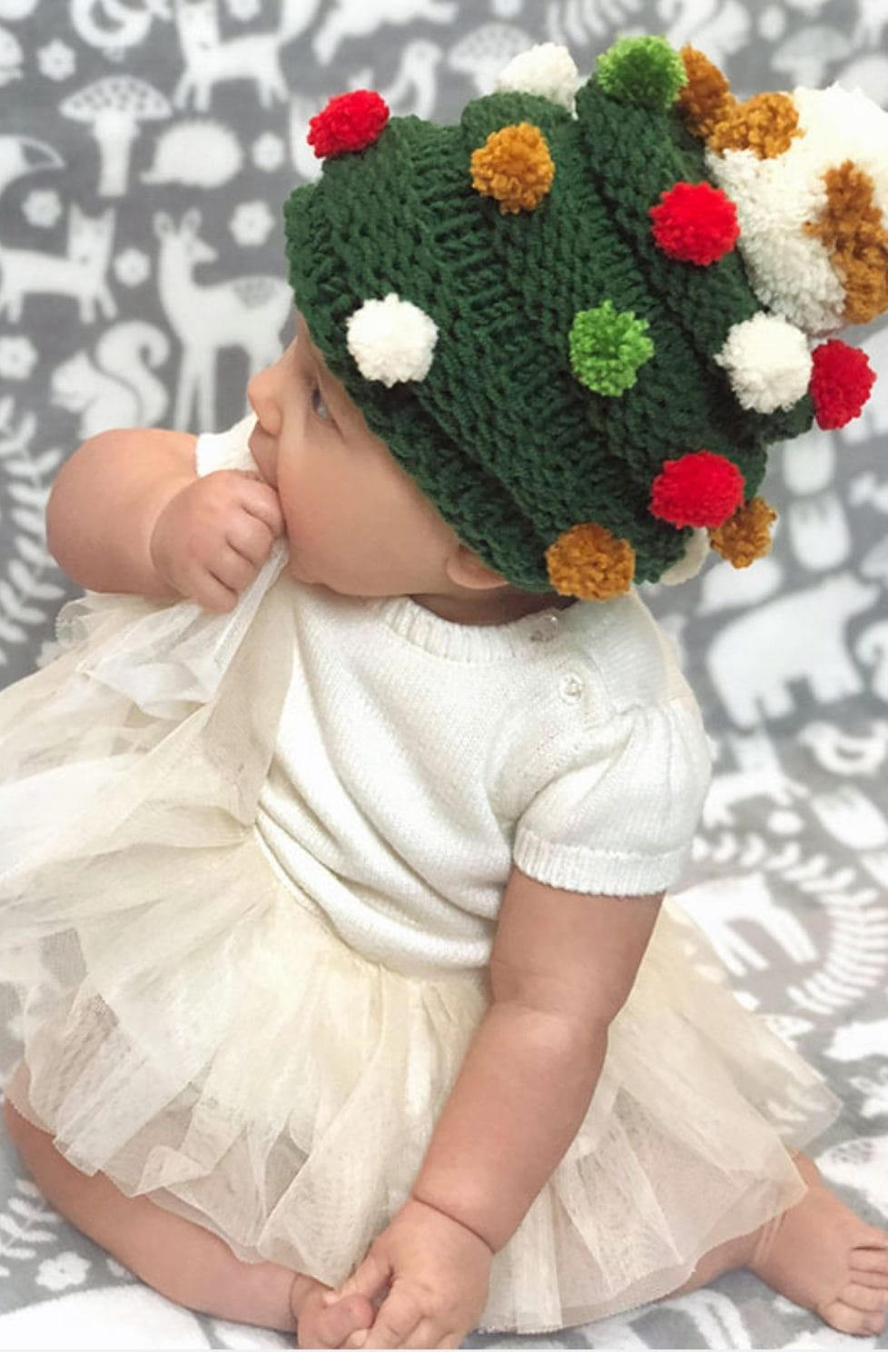 Baby Christmas Tree Hat Knitting Pattern