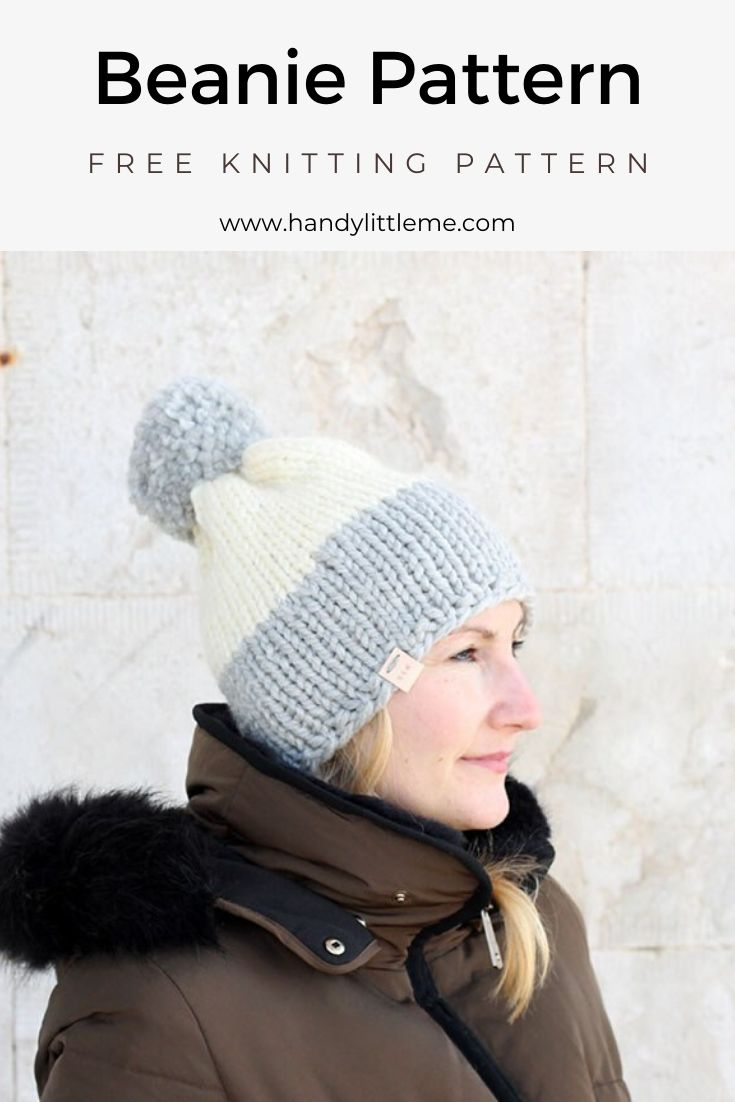 knitted beanie with two colours