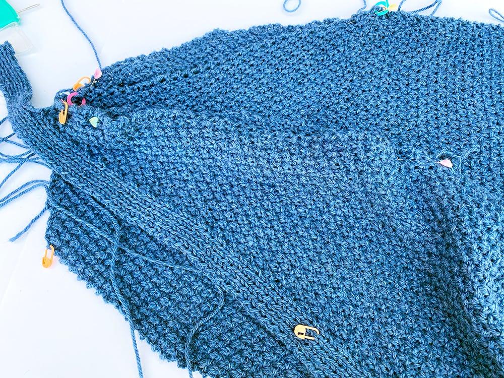 Blue cardigan making up step 1