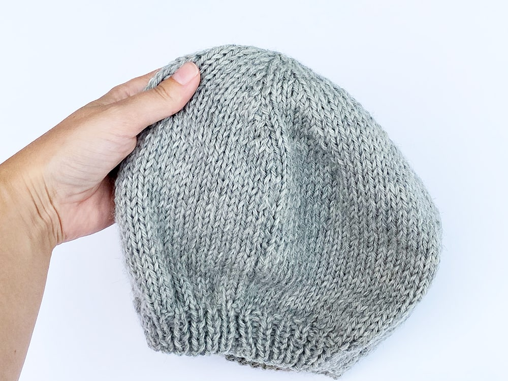view of the beret from the outside seam