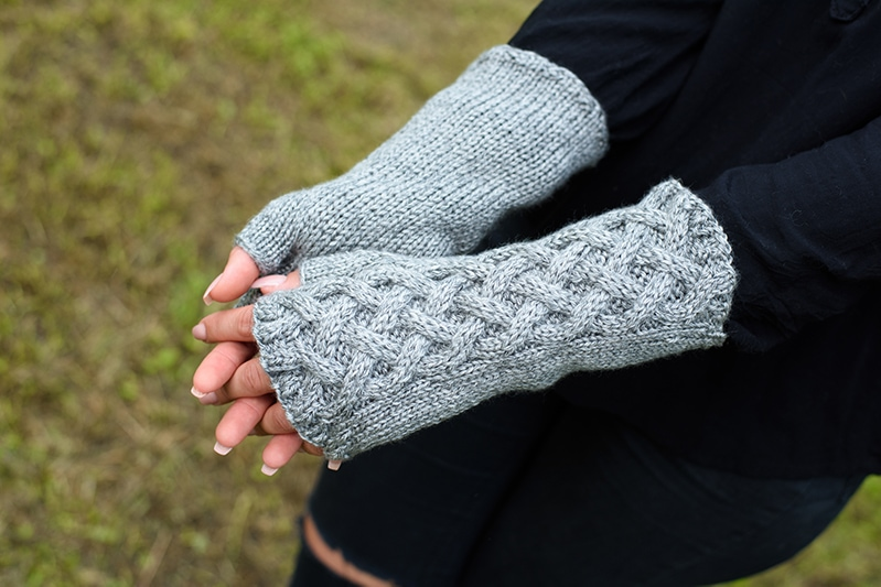Celtic cable knit fingerless gloves