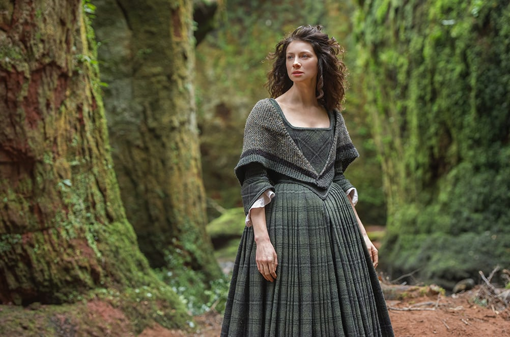 Claire wearing the rent shawl