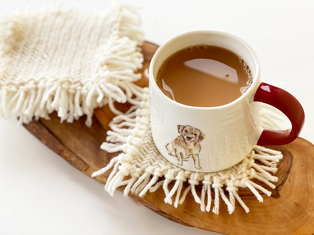 knitted coasters with fringing