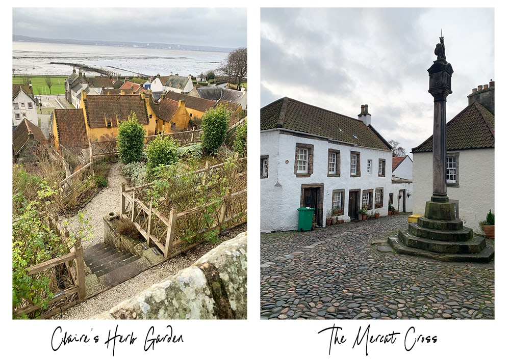 Culross village Claire's herb garden and the mercat cross