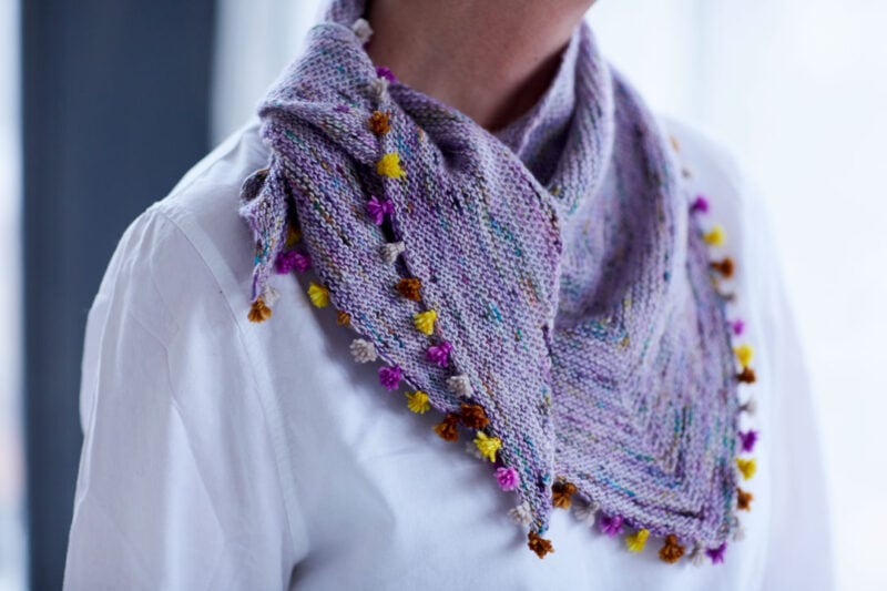 shawl with tassels knit with superfine weight yarn