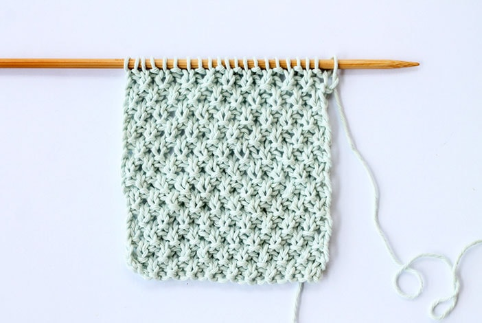 Double moss stitch knitted swatch example