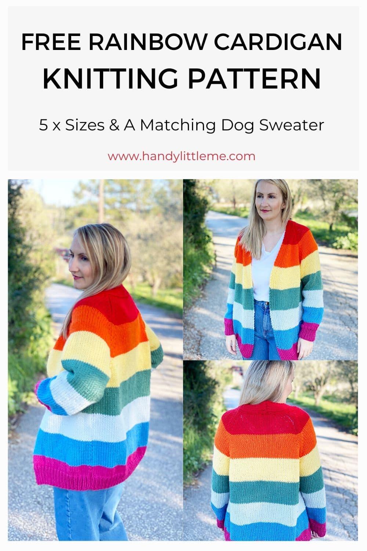 Free rainbow cardigan knitting pattern