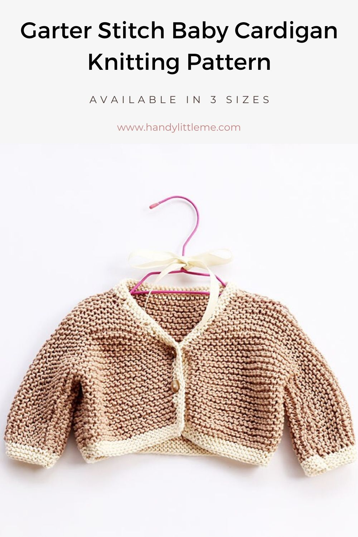 Garter stitch baby cardigan knitting pattern