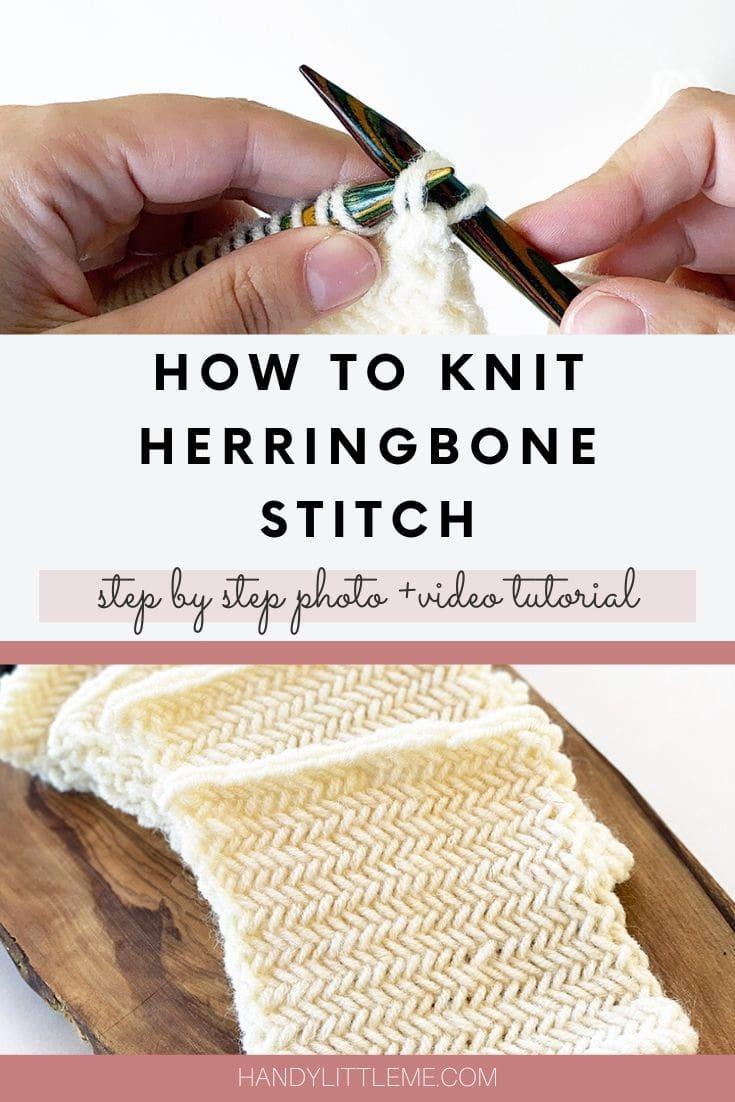 How to knit herringbone stitch