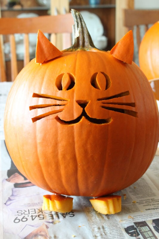pumpkin carving of a cat for halloween decorations