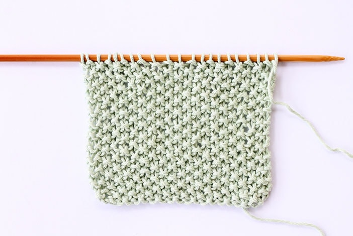 Moss stitch knitted swatch example