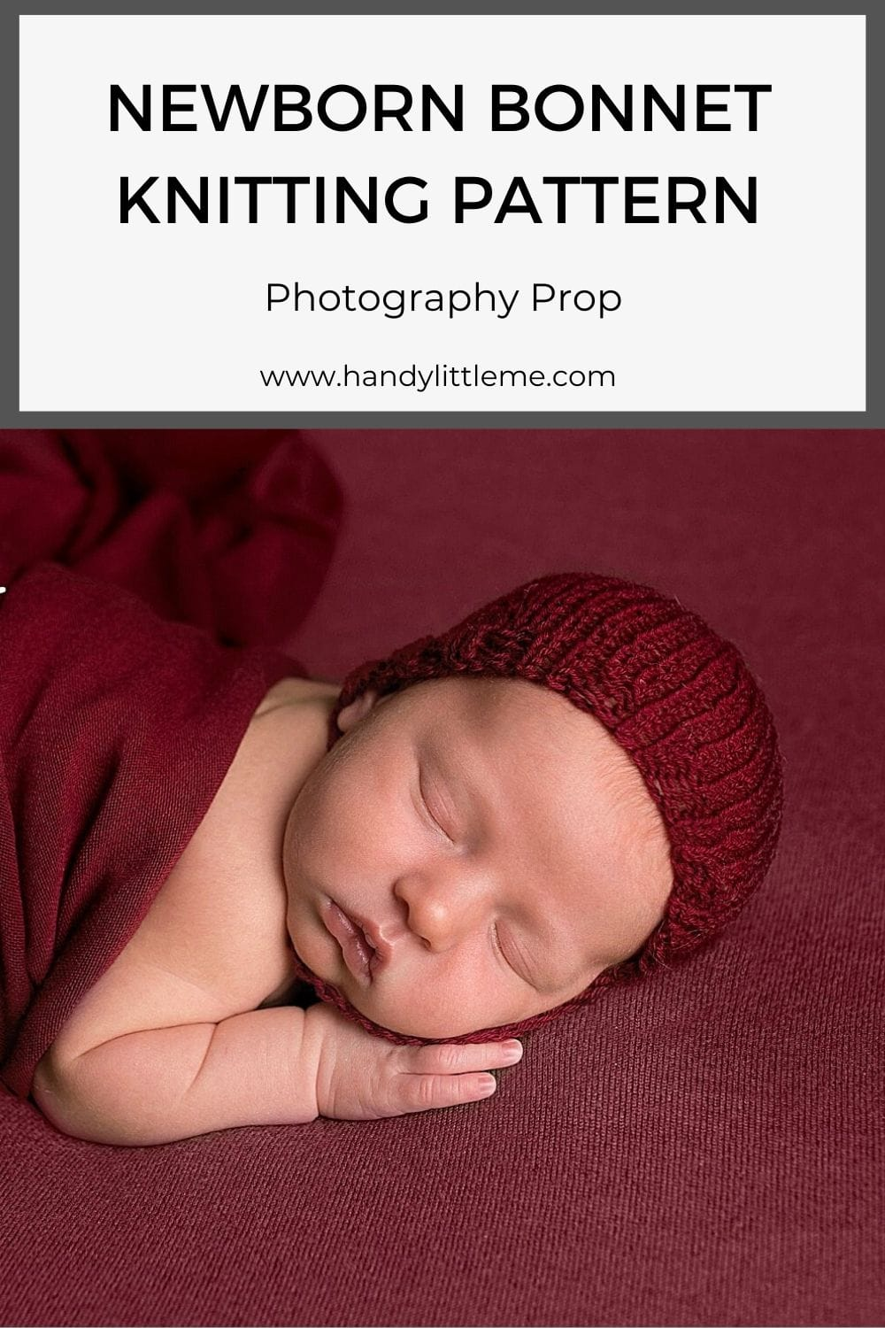 Newborn photo prop bonnet pattern
