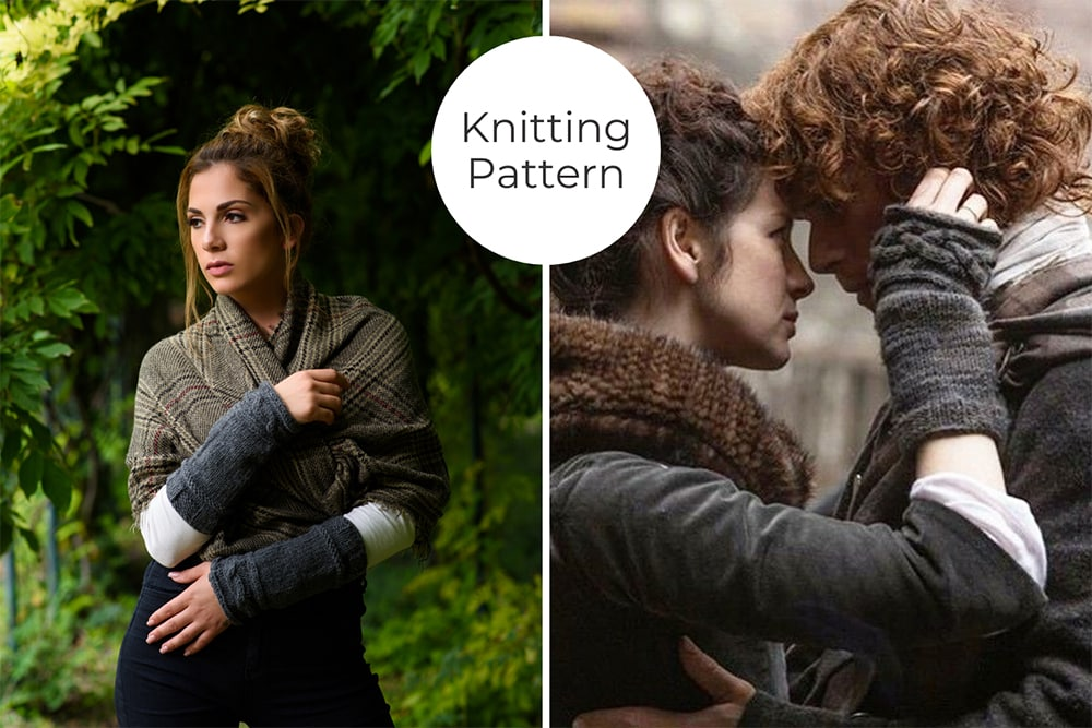 Outlander Claire arm warmers with cable