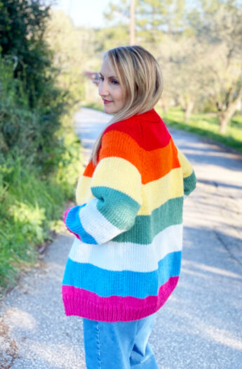 Rainbow Cardigan Knitting Pattern {5 Sizes}