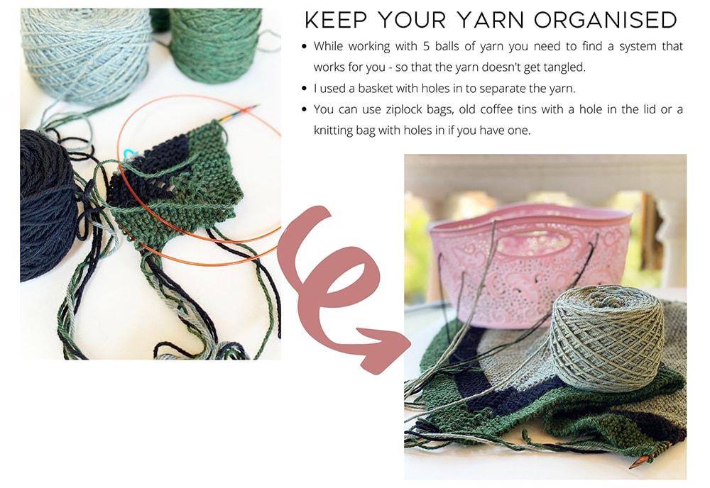 Rent Shawl Tips yarn organised