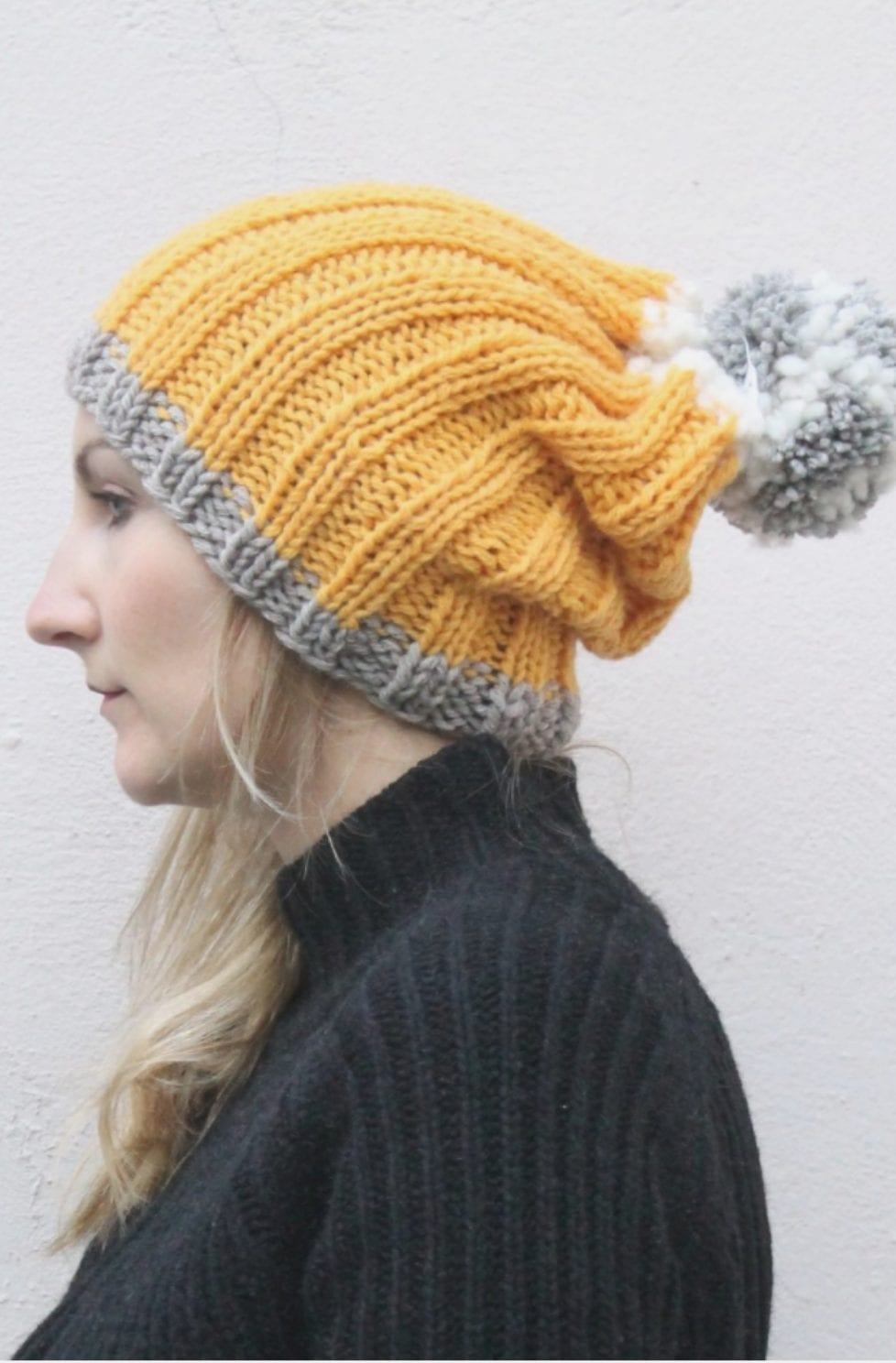 Slouchy knit beanie pattern