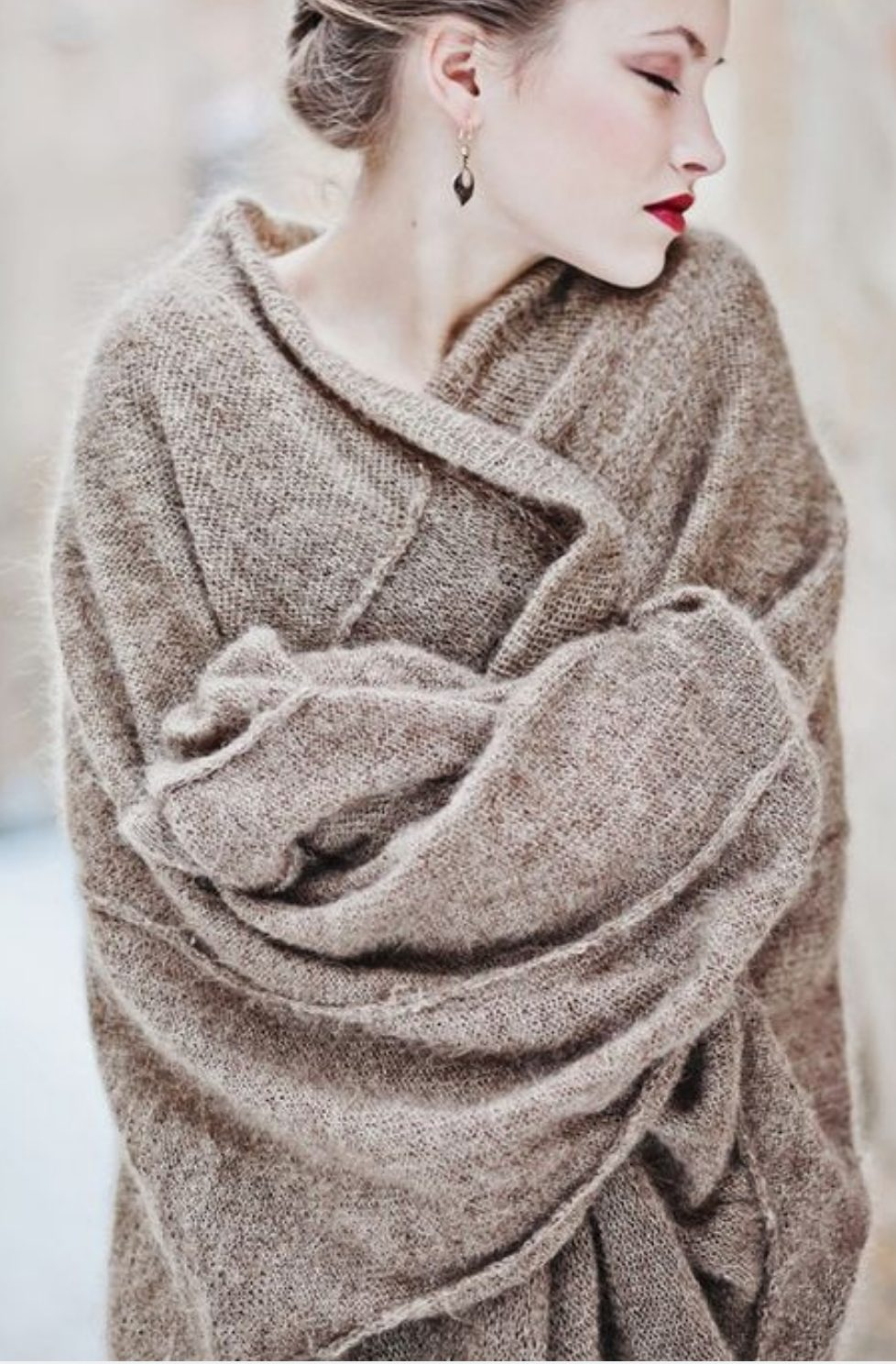 Taupe knitted wrap