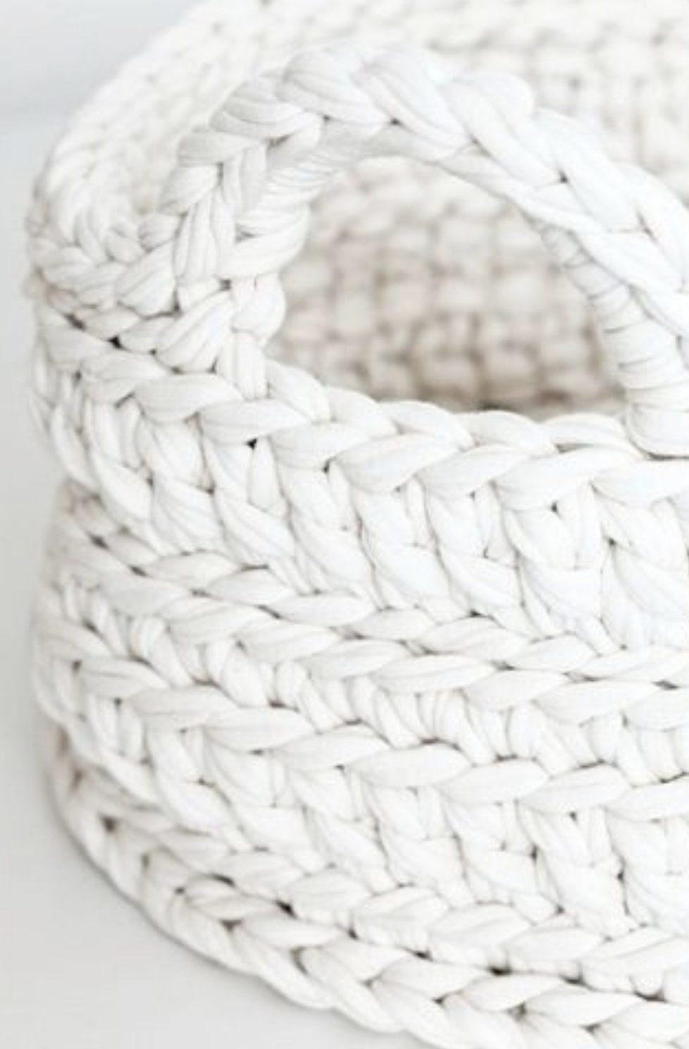 White crochet basket
