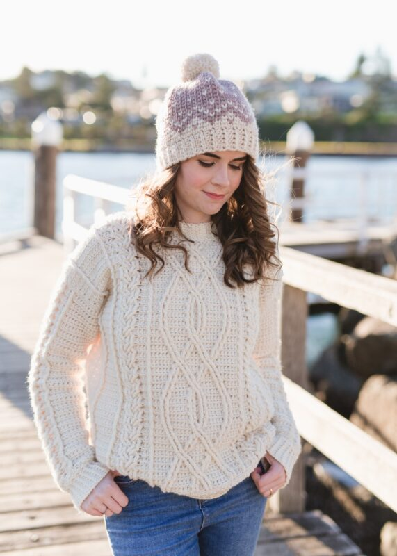 crochet aran sweater in white yarn