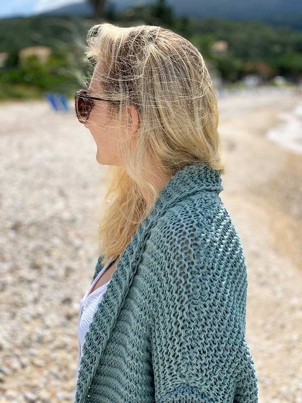 side view of oversized cardigan collar