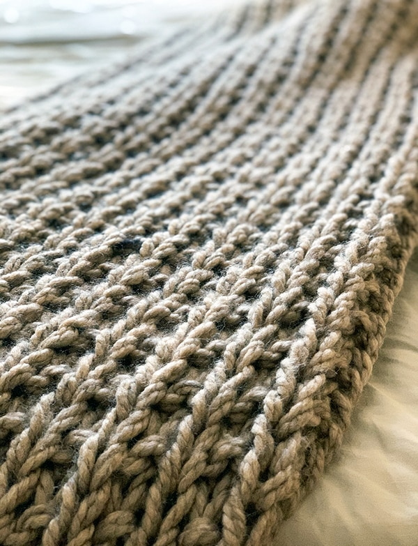 broken rib stitch knitted throw