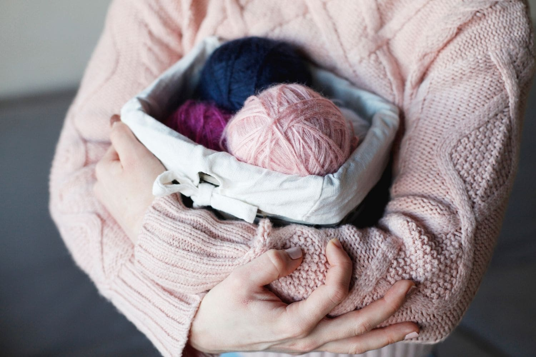 bulky weight yarn in a basket